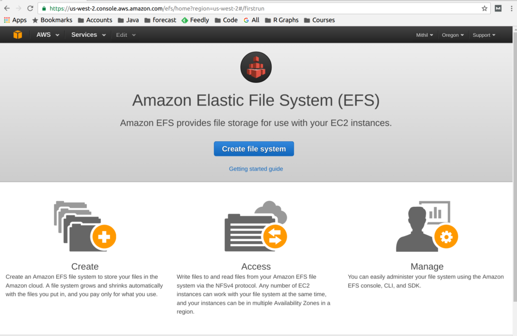 Amazon Elastic File System (EFS) Welcome Screen
