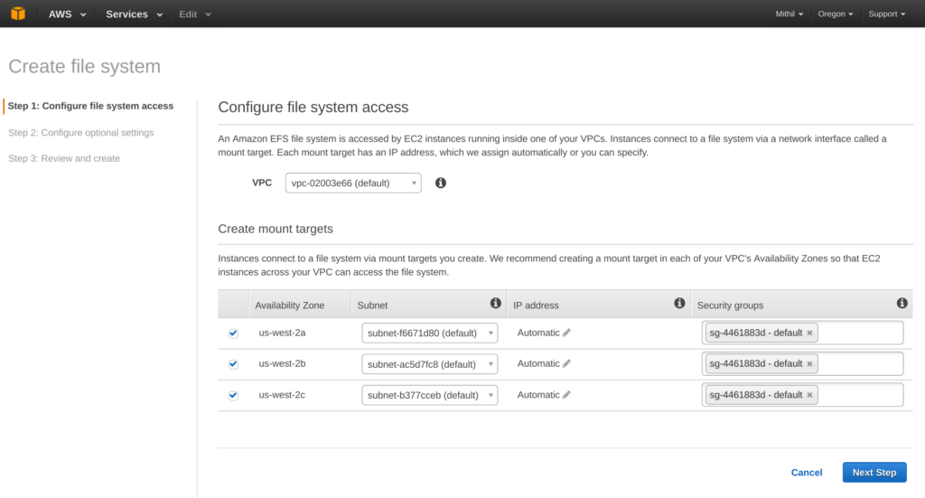 Amazon Elastic File System (EFS) configure file system access