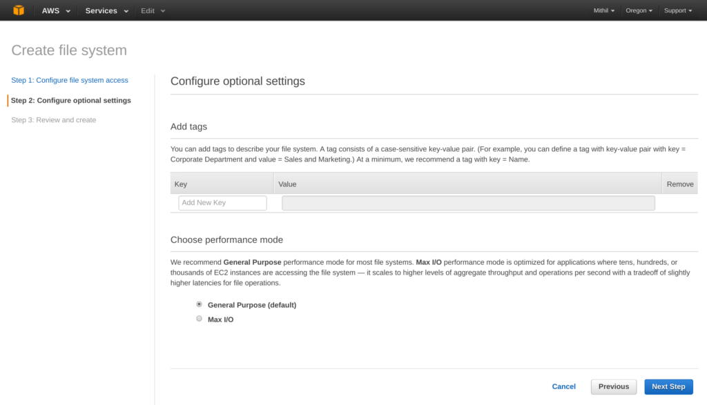 Amazon Elastic File System (EFS) configure optional settings