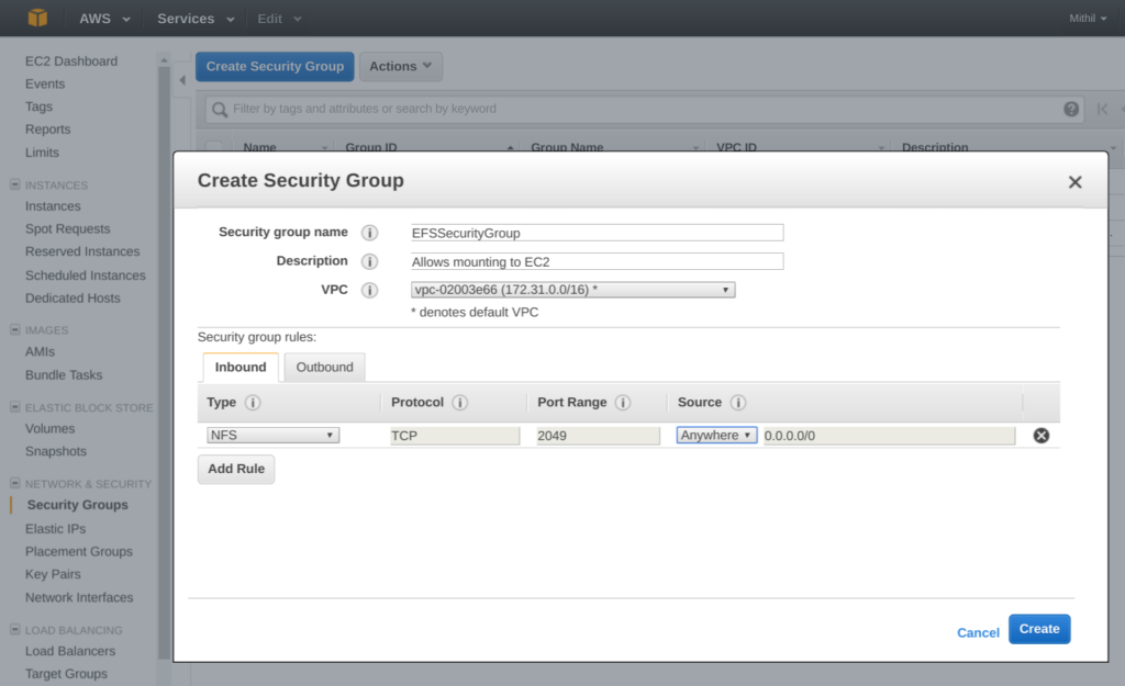 Amazon Elastic File System (EFS) create security group