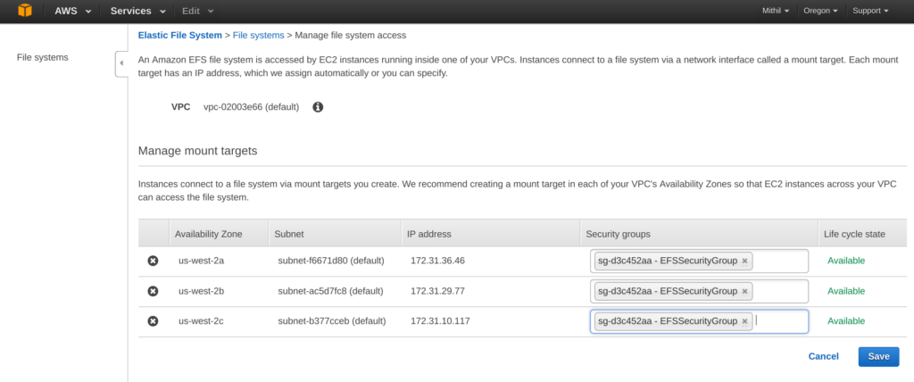 Amazon Elastic File System (EFS) attach security group