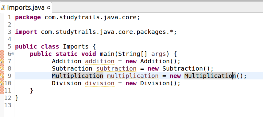 using imports in java for folder