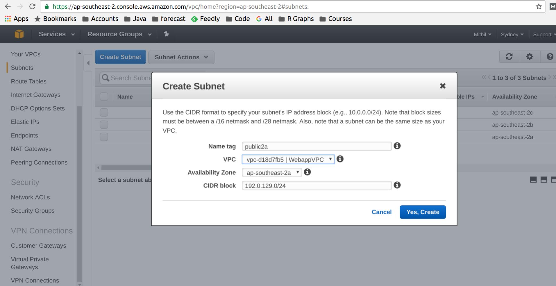 AWS VPC subnet