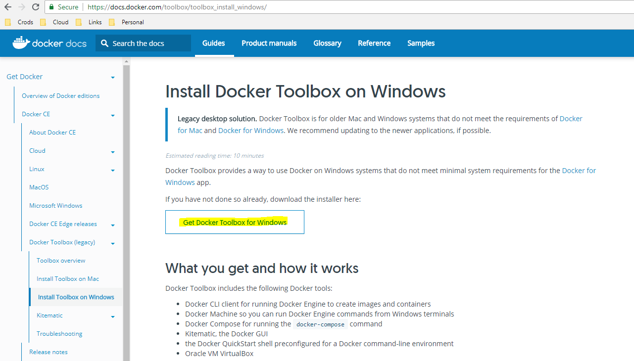 Install DockerToolbox for windows