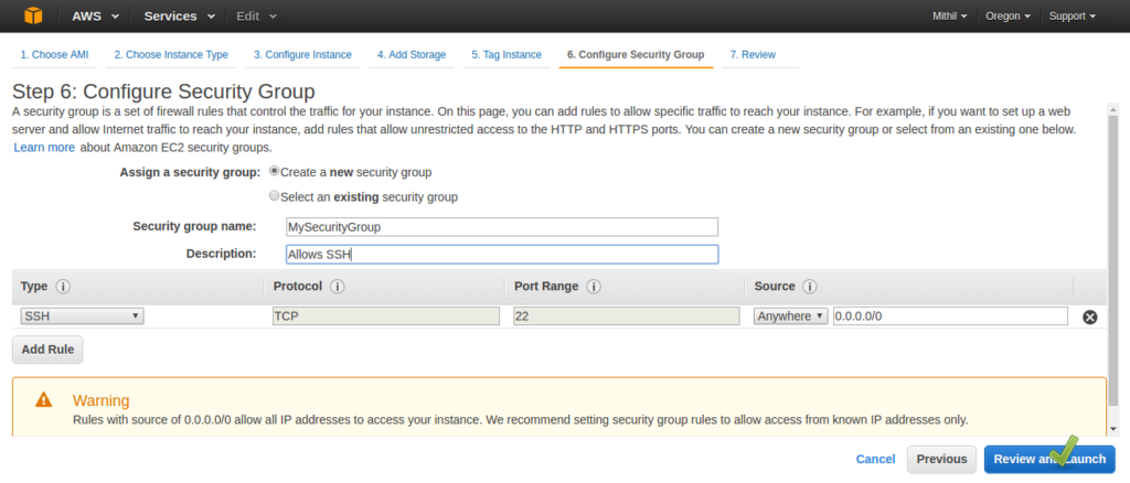 Amazon AWS - Configure Security Groups