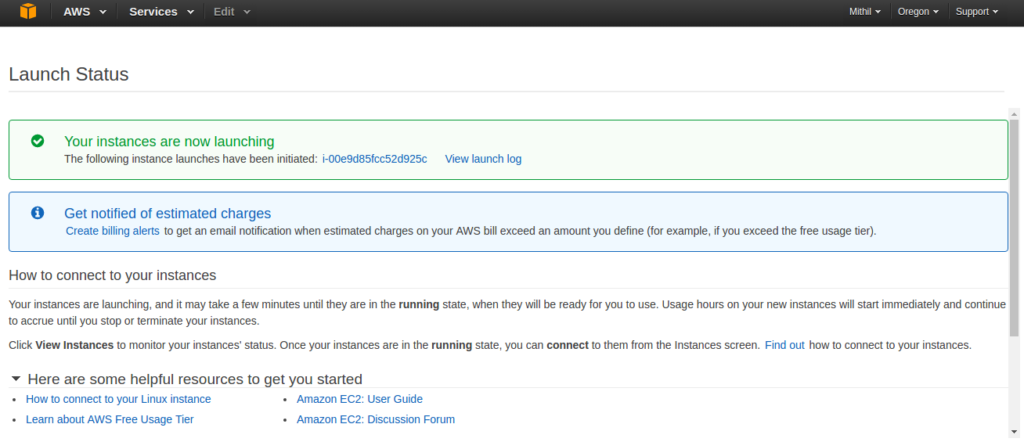 Amazon AWS EC2 create instance