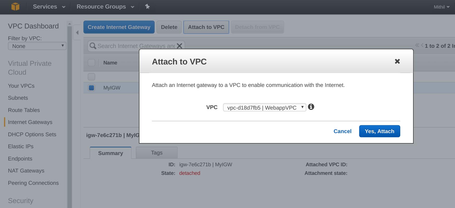 AWS VPC attach