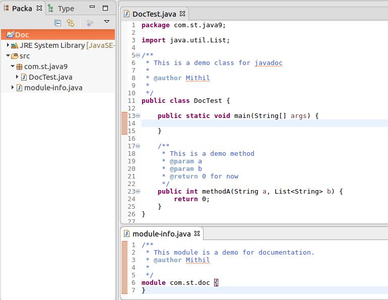 javadoc tool example