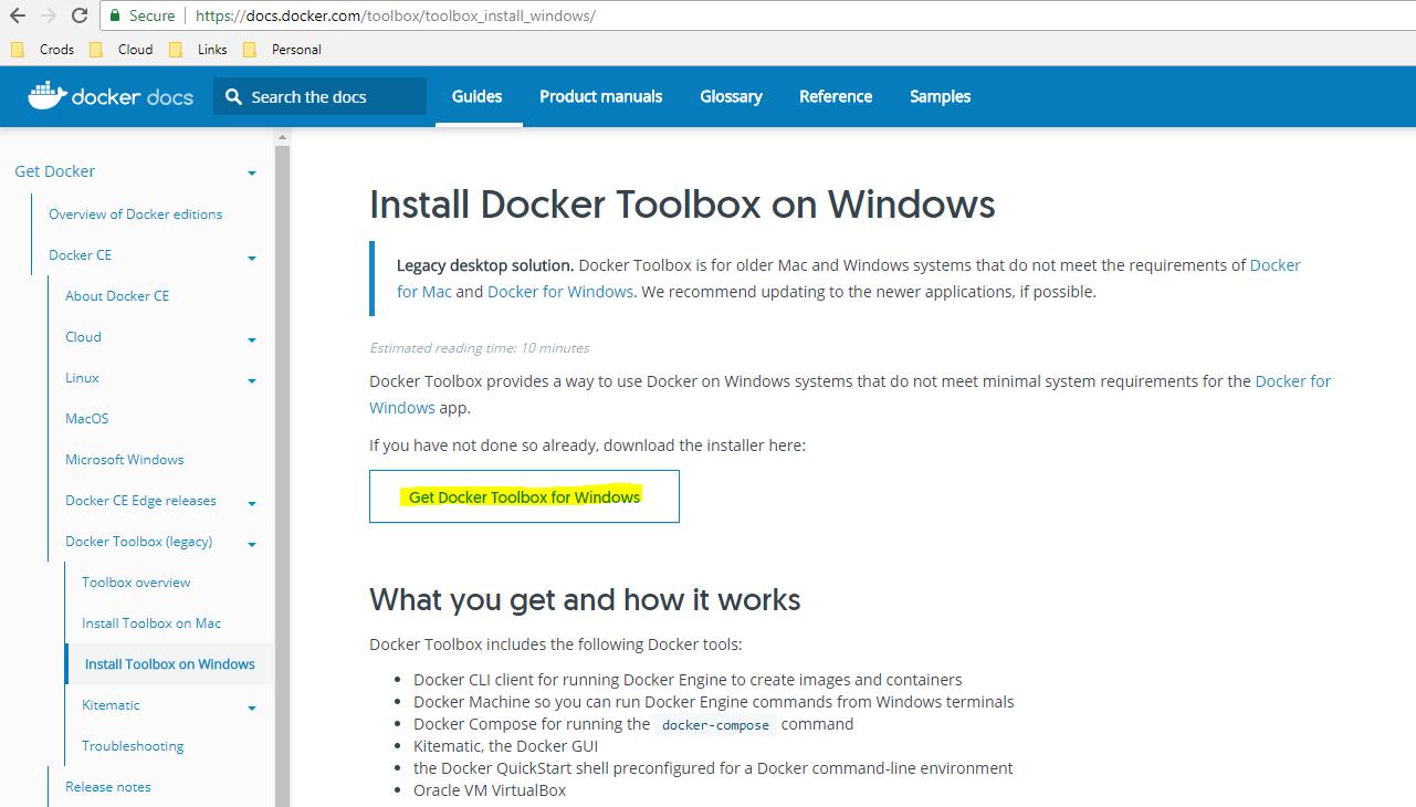 Install DockerToolbox for windows